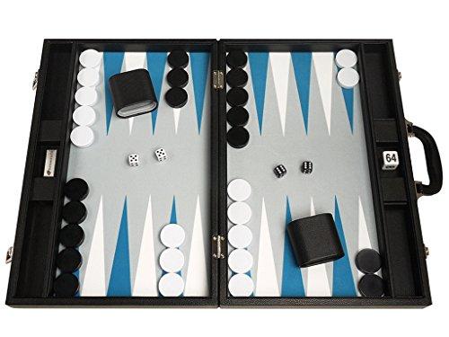 48 x 64 cm Premium-Backgammon-Set - Schwarzes Brett mit weißen und astralen blauen Punkten