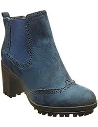 Angkorly - Zapatillas de Moda Botines chelsea boots botas militares mujer perforado Talón Tacón ancho alto 7 CM - Azul