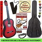 Pack Guitare Classique 3/4 (8-13ans) Pour Enfant Avec 6 Accessoires (Rouge+MéthodePDF)