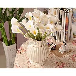 AOLVO Calla Lillies Künstliche Blumen, 100Hochzeit Bridal Bouquet Latex Real Touch Calla Lily Flower für Home Party Decor Weiß