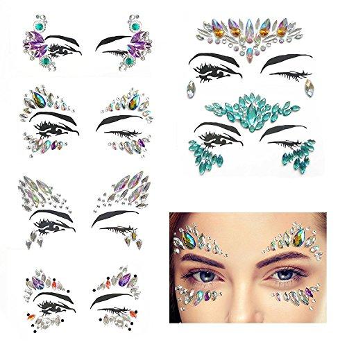 Leegoal 6 Sets Face Jewels Gesicht Juwelen Party Strass Meerjungfrau Gesicht Juwelen Tattoo Regenbogen Tränen Festival Juwelen Kristalle Bindi Temporäre Tätowierung Aufkleber für Gesicht Augen - Tattoos Juwelen