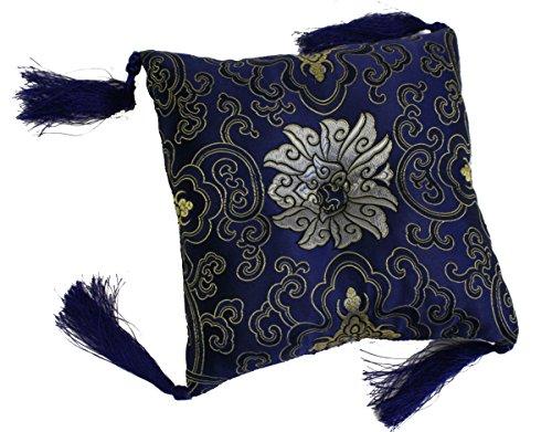 Kissen für Klangschale quadratisch mit diversen tradtionellen Mustern Ø ca. 19 x 19 cm -9840- (blau Lotus) in verschiedenen Farben erhältlich