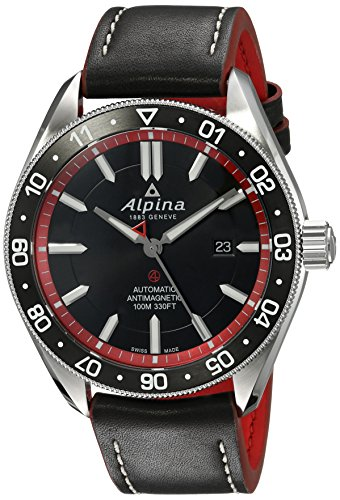 Alpina Men's 'Alpiner 4' Swiss Automatic Stainless Steel and Leather Casual Watch, Color:Black (Model: AL-525BR5AQ6)