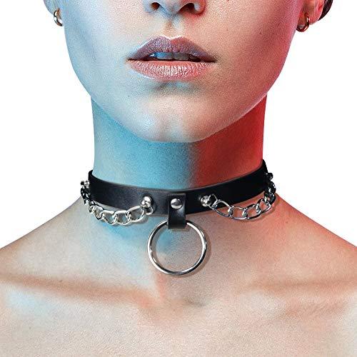 Gotik Punk Leder Choker Nieten Kragen Rock O-Ring Ketten Halsband (WN07) - Fetisch Kragen