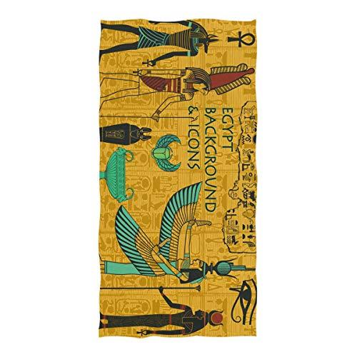 JIRT Großes Badetuch 74 × 37 in Kunst Alten ägyptischen Dekor Picknick-Matte für Reisen Pool Schwimmen Bad Camping Yoga Gym -
