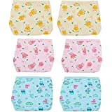 Triple B Premium Quality Padded Hosiery/Muslin / Cotton Nappies/langot / Skin Friendly Baby Nappies Reusable Nappies - Pack Of 6 (3-6 Month) Print & Color May Vary