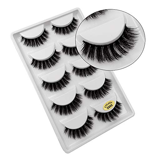SMILEQ® 5 Paar Make-Up 3D Natürliche Dicke Falsche Wimpern Erweiterung (5 Paar, A)