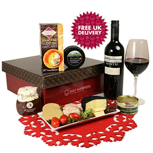 Ploughman's Lunch: Cheese, Pate and Red Wine Hamper Gift. FREE UK Delivery In Time for Mother's Day