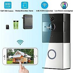 Sonnette Sans Fil Wifi Étanche, Ring Video Doorbell avec Pile Télécommande, Récepteurs Enfichables DingDong PIR Infrarouge, 720P HD, Audio Bidirectionnel, Consommation Faible, Carte 8G Intégré (32G Maximum)