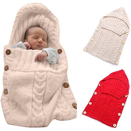 Neugeborenes Babydecke Wrap Swaddle Decke, SOONHUA Baby Kinder Kleinkind Wolle Knit Decke Swaddle Schlafsack Schlaf Sack Stroller Wrap für 0-12 Monate Baby (Kahki)