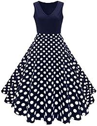 9e0d7d9804e Damen Retro Swing Rockabilly Kleid 50er Jahre Geblümt Festlich Partykleid  Ärmellos