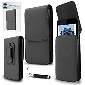 iTALKonline Oppo A57 Grey PREMIUM PU Leather Vertical Executive Side Pouch Case Cover Holster with Belt Loop Clip and Magnetic Closure and Re-Tractable Captive Touch Tip Stylus Pen with Rubber Tip