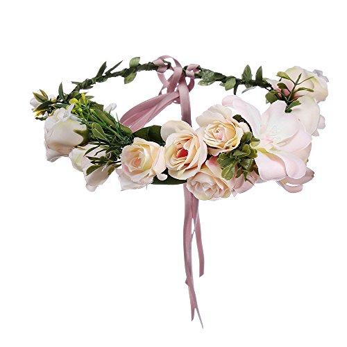 AWAYTR Blumen Stirnband Hochzeit Haarkranz Blume Krone (Rosa)