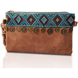 Pequeño bolso para mujer | Diseño al estilo vintaje, bohemio y Ethno | Bolso con correa de hombro | Clutch envelope marrón