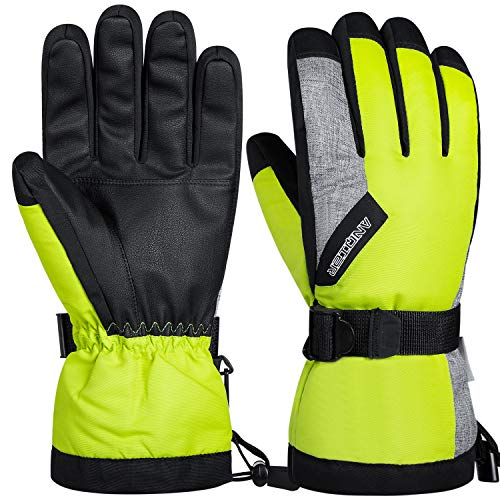 coskefy Guanti Invernali Guanti Sci Impermeabili da Uomo e Donna Guanti Neve Termico Antivento Sottoguanti Sci Termici con 3M Thinsulate Isolation Ski Gloves, Verde Frutta
