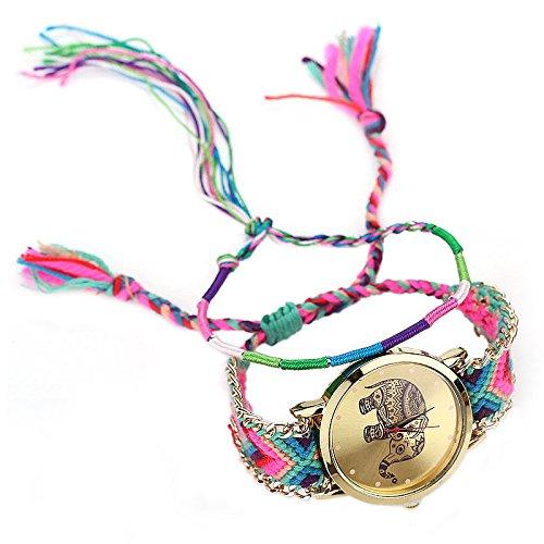 Reloj de pulsera de colores - SODIAL(R)Reloj de pulsera del elefante de senora de colores Reloj de cuarzo Pulsera trenzada (rojo)