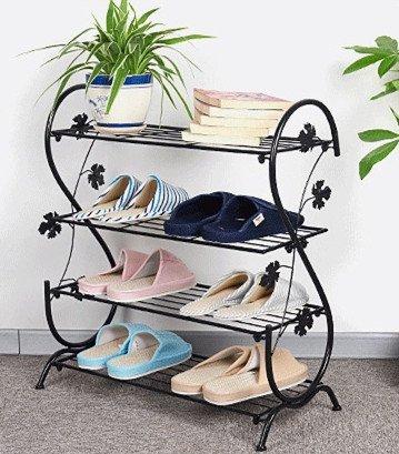 JMSIA Schuhregal Metall Schuhschrank Schuhständer für ca. 12 Paar Schuhe 61 x 28 x 71cm ,Blume geschnitzte Dekoration S-Typ (Schwarz)