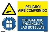 NORMALUZ prd2202082-Segnale combinata omologata ¡pericolo. Aria Compressa/Obligatorio enganchar le bottiglie PVC bianco 0,7mm 60x 40cm alta qualità