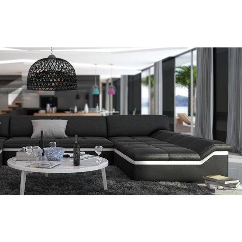 XXL Wohn-Landschaft mit Kunstleder Bezug 380x220 cm U-Form schwarz / weiß | Sarari-U | Designer Eck-Sofa mit 2 Recamieren | Couch-Garnitur für Wohnzimmer schwarz / weiss 380cm x 220cm - 3