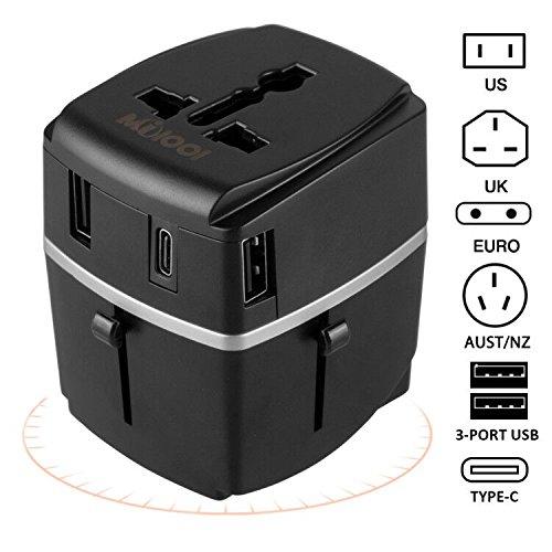 Adaptador de Viaje Universal 4 Puertos USB Adaptador de Internacional Utilice fusible de Corriente de 8A en La Línea Principal de CA para Proteger el Circuito USB -Milool(negro)