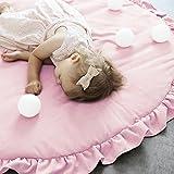 Pueri Kinder Baby Spielmatte Runde Teppich Kriechmatte Spielzelte Dekoration fürs Kinderzimmer (Rosa)