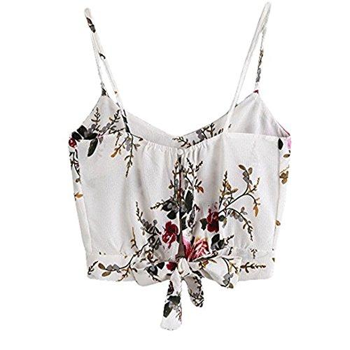 Top Bluse Bequem Lässig Mode T-Shirt Blusen Frauen Women's Self Tie Back V Ausschnitt Blumendruck Crop Cami Top Camisole Bluse(Weiß, L) ()