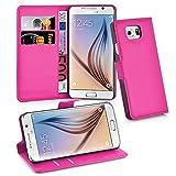 Cadorabo Hülle für Samsung Galaxy S6 - Hülle in Cherry PINK – Handyhülle mit Kartenfach und Standfunktion - Case Cover Schutzhülle Etui Tasche Book Klapp Style