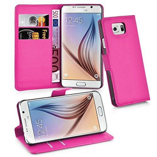 Cadorabo - Book Style Hülle für Samsung Galaxy S6 (SM-G920F NICHT für EDGE) - Case Cover Schutzhülle Etui Tasche mit Standfunktion und Kartenfach in CHERRY-PINK