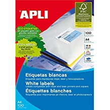 Apli 002167 - Pack de 100 etiquetas para impresora, 70 x 42.4 mm, color blanco