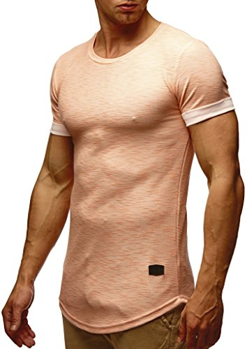 LEIF NELSON Herren Sommer T-Shirt Rundhals-Ausschnitt Slim Fit Baumwolle-Anteil   Moderner Männer T-Shirt Crew Neck Hoodie-Sweatshirt Kurzarm lang   LN6356 Lachsrosa Medium