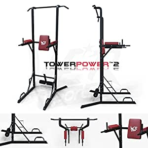 We R Sports® Chin Up Pull Up Sit Ups Power Tower Vertical Knee Raise Dip Station Workout Bar