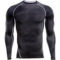 Sfit Homme T-shirts de Compression Sport Manches Longues Vêtements de Fitness Jogging Séchage Rapide