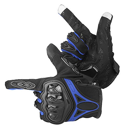 Cocoarm Motorradhandschuhe für Herren und Damen Warme Handschuhe Rennsport Handschuhe Touchscreen Motorrad Handschuhe für Outdoor Motorrad Radfahren (XL, Blau)