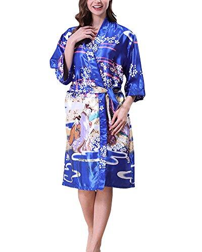 Donna Vestaglie Scollo a V Kimono Corto da Notte in Raso Con Cintura Pavone Raso Fiore Pigiama Blu zaffiro
