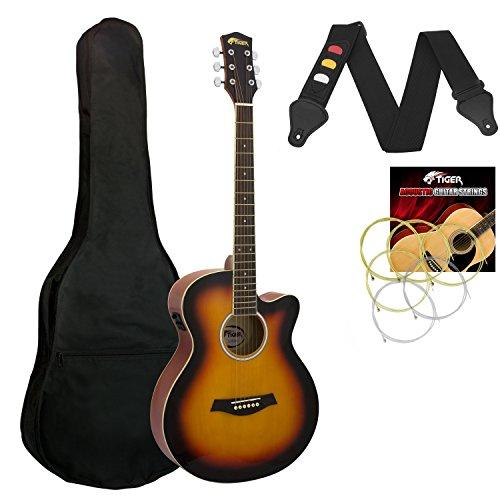 Tiger - Guitarra electroacústica, color amarillo