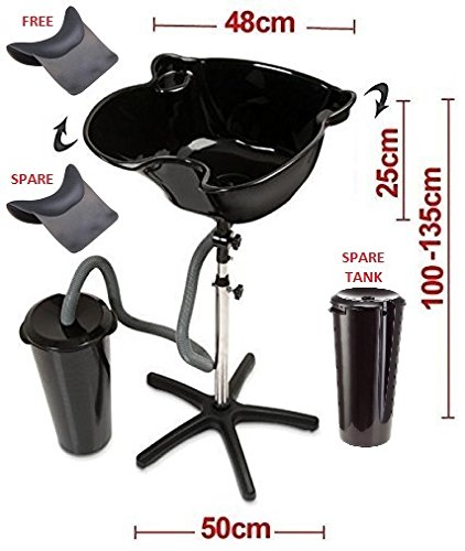 All-In-One Elite Hairdressers Portable Salon Tilting Black Backwash Basin Bowl Stand with 2 x Drainage Tanks (including Spare) and 2 x Large Gripper Gel Neck Rests (including Spare) - Hair Barber Salon Clinic Surgery Training