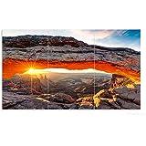 Wallario Herdabdeckplatte / Spritzschutz aus Glas, 3-teilig, 90x52cm, für Ceran- und Induktionsherde, Sonnenstrahl am Horizont – Leuchtende Felsspalte