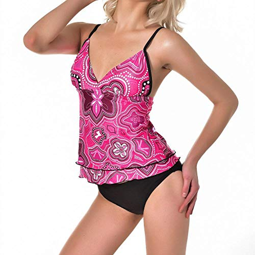 FGMJD Frauen Sommer Dreieck Halfter Sling Zweiteiler Sexy Print Split Bikini Pullover Rot_XL - Split Print Pullover
