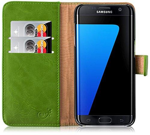 Cover Galaxy S7 Edge, JAMMYLIZARD Custodia Retro Wallet a Libro in Pelle per Samsung Galaxy S7 Edge, VERDE ERBA