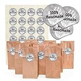 24 Stück kleine braune Papiertüten mit Boden + Pergamin-Einlage, Teetüten Tütchen (7 x 4 x 20,5...