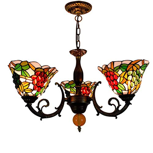 Leuchter Idyllische Retro 3-Arm Kronleuchter, Tiffany-Art-Deckenleuchte mit 8-Zoll-Trauben-Design Buntglas Shade Deckenpendelleuchte für Restaurant Schlafzimmer Bar, E27 Aktualisierung (40-zoll-led-licht Bar)