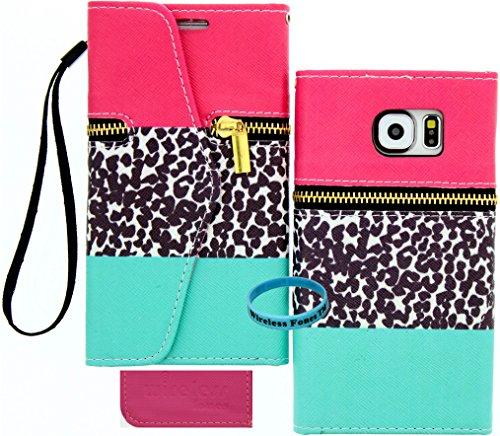 Wireless Fones TM Pink Blaugrün Leopard Reißverschluss Wallet Flip Hard Case Cover für Samsung Galaxy S6(2015Version) Leopard Hard Case Cover
