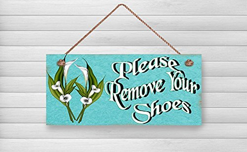 Norma-Schild aus Holz, Please remove your shoes, wariming, 5 x Schild aus Holz,