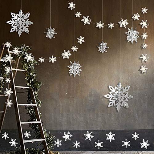 Schneeflocken-Dekorationsset, 24 3D-Schneeflocken, zum Aufhängen, Girlanden und 6 große 3D-Schneeflocken, Weihnachtsdekorationen und 12 Aufkleber; Set für Weihnachten/Neujahr