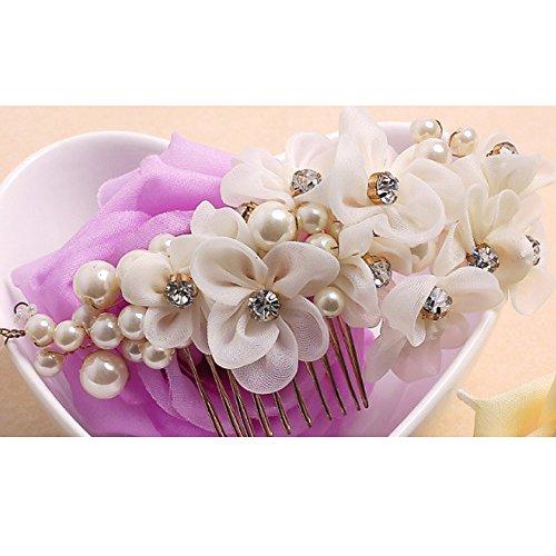 Tüll Blume Sicke Simulierte Perlen Braut Haarkämme Hochzeit Haarschmuck für Brauthochzeits Abschlussball Partei - Weiß - 2