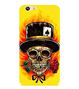 For Oppo F1s dangerous skull, rose, yellow background Designer Printed High Quality Smooth Matte Protective Mobile Case Back Pouch Cover by APEX