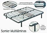 HOGAR24 Somier multiláminas con reguladores lumbares-150x190cm-PATAS 32CM (5 Patas Incluidas)