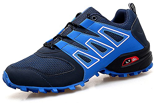 CAGAYA Herren Wanderhalbschuhe rutschfeste Cross Country Laufschuhe Outdoor Schuhe Trekking Wanderschuhe Sneaker 39-46 (43 EU, Blau-471)