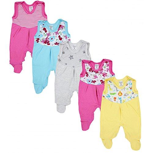 TupTam Baby Strampler mit Print Strampelanzug 5er Pack, Farbe: Mädchen 4, Größe: 56