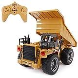 SGILE 6 Kanal RC Muldenkipper Spielzeug mit Licht und Sound, Fahrzeug mit 360° Grad Drehfunktion, Metallschaufel,2.4Ghz Wiederaufladbar Ferngesteuerter Raupenbagger Traktor